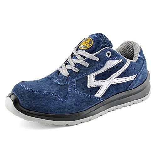 Zapatos de Seguridad para Hombres con Puntera de Fibra de Vidrio - SAFETOE 7328 Zapatillas Ultra-Ligeras Azul (Talla 44, Azul)