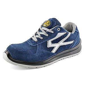 Zapatos de Seguridad para Hombres con Puntera de Fibra de Vidrio - SAFETOE 7328 Zapatillas Ultra-Ligeras (Talla 42, Azul) l