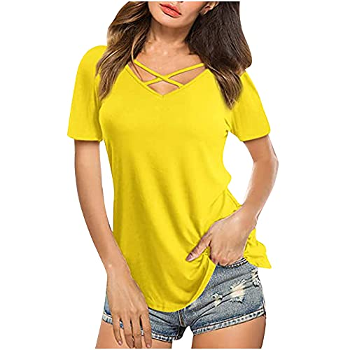 erthome1 Camisetas de mujer monocolor, blusas de manga corta, elegantes y sexy, cuello en V, cruzado, a la moda, casual, sueltas, básicas, de algodón sólido, para mujeres, adolescentes y niñas, E, XL