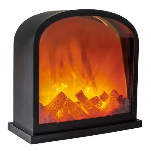 LED Kamin gewölbt, Tischkamin, Feuer-Leuchteffekt, Flammen Optik, batteriebetrieben