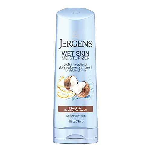 Jergens Wet Skin Body Moisturizer with Coconut Oil, In Shower Lotion for Dry Skin, Fast-Absorbing, Non-Sticky, Dermatologist Tested, 10 Ounce