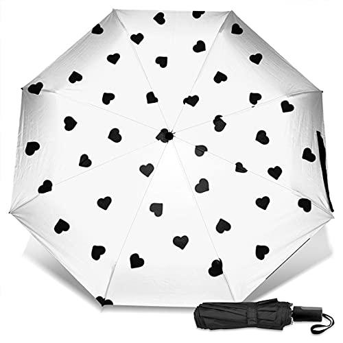 LYYNBLA HeartCompact - Paraguas de viaje para exteriores, con diseño de triple, resistente al viento y lluvia y sol, Impresión exterior, Taille unique