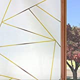 Static Cling Window Privacy Film Frosted Decorative Glass Door Film Sticker for Home Office Living Room, 17.7'' x 78.7'' (Gold Frosting Lines)