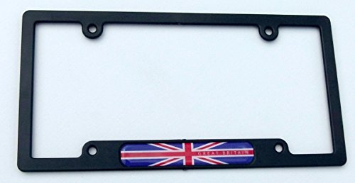 Great Britain Flag Black Plastic Car License Plate Frame British England