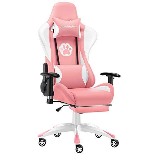 JL Comfurni Gaming Stuhl Bürostuhl Ergonomischer Computerstuhl mit Fußstütze Racing Lehnstuhl höhenverstellbar Schreibtischstuhl mit verstellbaren Armlehnen aus Kunstleder Rosa