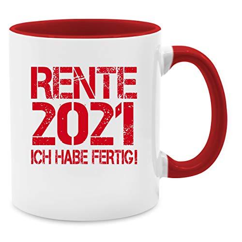 Shirtracer Tasse Berufe - Rente 2021 - Ich Habe fertig! - Unisize - Rot - Tasse Rente 2019 - Q9061 - Tasse für Kaffee oder Tee