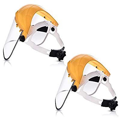 Katzco Clear Full Face Shield Visor Mask - Pack of 2 - Face and Head Coverage - Ideal for Automotive, Construction, General Manufacturing, Mining, Oil and Gas Uses