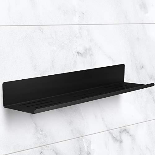 tradeNX Duschregal – Selbstklebende Duschablage aus Edelstahl in Schwarz – Zum Kleben – Stilvolle Ablage für die Dusche – 40x9,5x5cm (BxHxT)