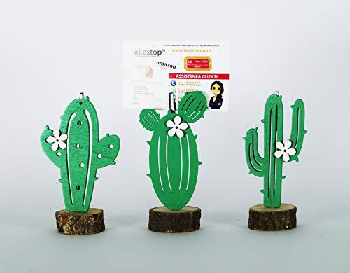 takestop Porta Foto Cactus Fiore CC_7719 3 Pezzi PORTAFOTO Base Legno Decorazione Design SEGNAPOSTO SEGNATAVOLO BOMBONIERA Festa Bambini