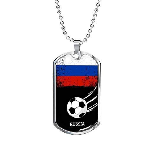 Express Your Love Gifts - Collar de Acero Inoxidable con diseño de Bandera de Rusia y Futbol/fútbol en Tono Plateado o Oro de 18 Quilates con Caja de Cadena de Bolas de 24 Pulgadas