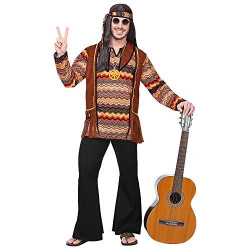 Widmann 70285 – Costume Hippie, Camicia con Gilet, Pantaloni, Fascia, Catenina, Flower Power, Carnevale, Feste a Tema.