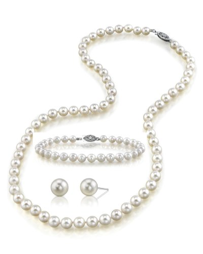 7.5–8.0mm Hanadama Bianco Collana Di Perle Coltivate Akoya, braccialetto e orecchini set, 18cm