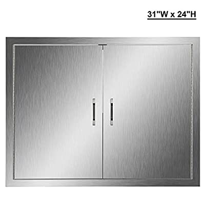 "CO-Z Outdoor Kitchen Doors, 304 Brushed Stainless Steel Double BBQ Access Doors for Outdoor Kitchen, Commercial BBQ Island, Grilling Station, Outside Cabinet, Barbeque Grill, Built-in (31"" W x 24"" H)"