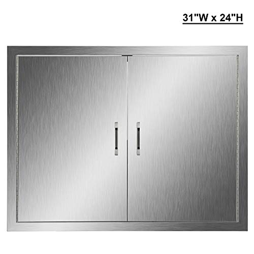 CO-Z Outdoor Kitchen Doors, 304 Brushed Stainless Steel Double BBQ Access Doors for Outdoor Kitchen, Commercial BBQ Island, Grilling Station, Outside Cabinet, Barbeque Grill, Built-in (31' W x 24' H)