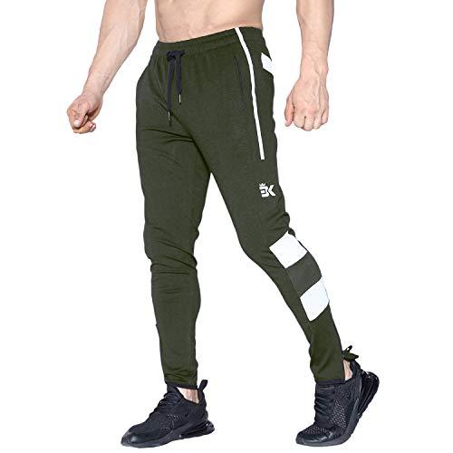 Brokig Herren Sporthose Gym Jogginghose Slim Fit Jogginghose Beinabschluss Reißverschluss Gr. 31-35, armee-grün