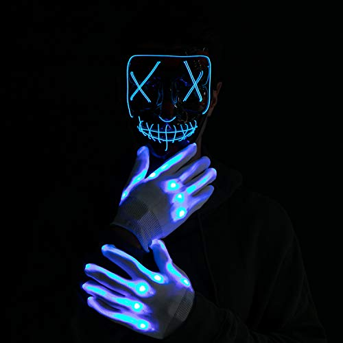 Halloween Led Mask Light Up Scary Mask and Gloves Cosplay Costume (Blue)