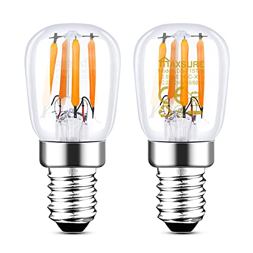 Maxsure Bombilla LED E14, 2.5W 260LM Blanco Cálido 2700K, Bombilla Nevera, Reemplazo por la lámpara halógena Tradicional de 25W, Impermeable, para Nevera, Campana Extractora, Lámpara, 2 Unidades