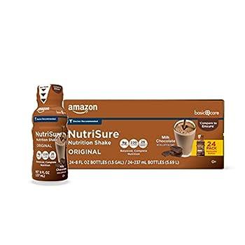 Amazon Basic Care Nutrisure Original Nutrition Shake Milk Chocolate Flavor 8 Fl Oz  Pack of 24