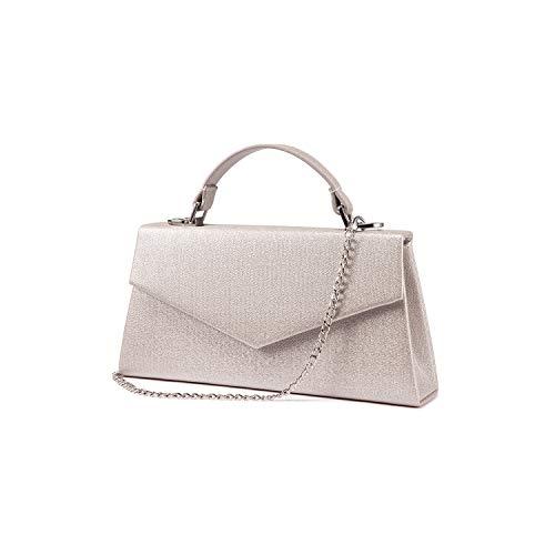 LOVEVOOK Clutch Purses for Women Evening Bags Handbag Envelope PU Leather Party Wedding Wristlet Handbag Pearl Silver