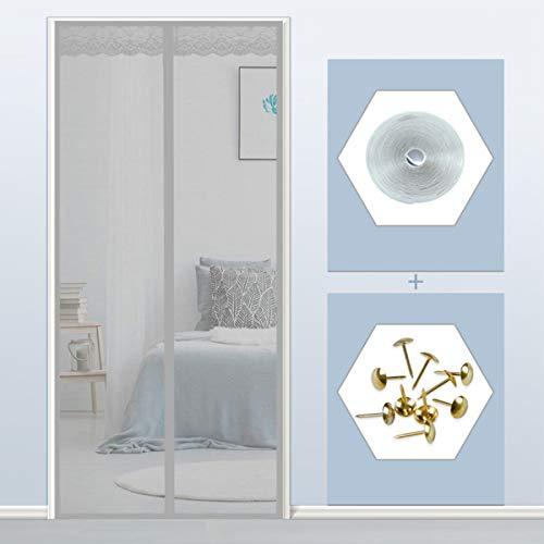 THAIKER Mosquitera para Puerta de Terraza Magnetica, 90x205cm(35x81inch) Cortina Puerta Exterior Magnética Automático Anti Insectos Moscas y Mosquitos para Balcones, Gris