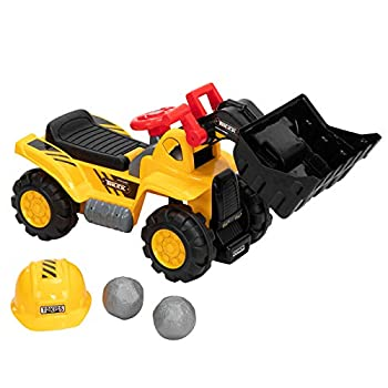 VALUE BOX Construction Bulldozer Toddler Ride On Toy Digger Scooper Pulling Cart W/ Front Loader Digger Horn Underneath Storage Children Pretend Play Truck Indoor and Outdoor Yellow