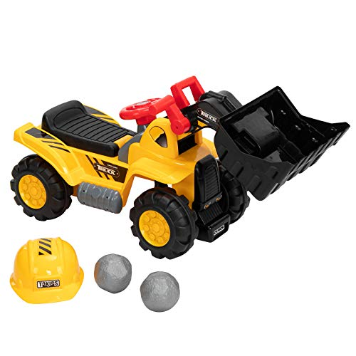 JOYMOR Kids Ride On Construction Bulldozer, Digger Scooper Pulling Cart Pretend Play Truck Toy W/Front Loader, Digger Horn, Underneath Storage, Safety Helmet and Rocks for Kids Indoor and Outdoor