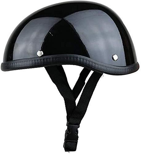 DLPAC Casco de Moto para Hombre Mujer, Casco Ligero de plástico ABS Retro de Estilo alemán Casco de Media Cara Vintage (Color: Negro/Blanco, tamaño: 56-59 cm)