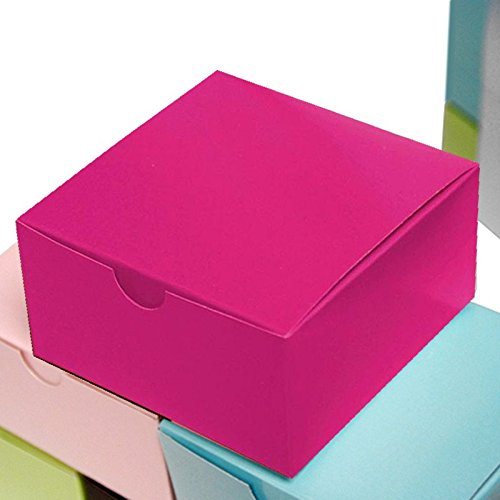 BalsaCircle 100 Fuchsia Cake Wedding Favors Boxes with Tuck Top for Wedding Party Birthday Candy Gifts Decorations Supplies