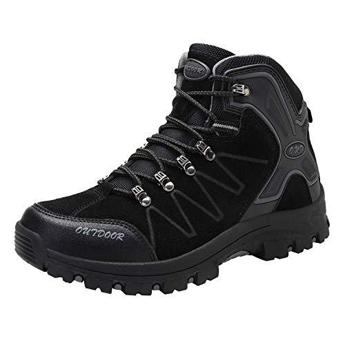 [アッション] トレッキングシューズ メンズ 軽量 防滑 登山靴 アウトドア ハイカット ハイキングシューズ 透湿 防水 ハイテック ウォーキングシューズ キャンプ すべり止め 釣り 靴 防寒靴 スニーカー 通勤 25.5cm ブラック
