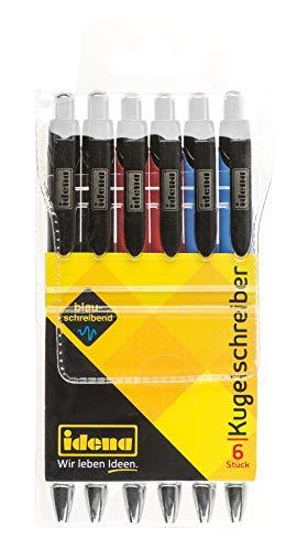 Idena 500291 - Kugelschreiber 6 Stück, blauschreibend