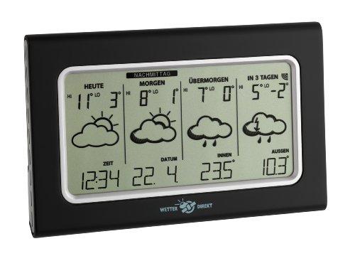 TFA Dostmann Vario satellitengestützte Funk-Wetterstation, mit Wetterdirekt Technologie, Profi-Wetterprognose, Reisewetter, Außentemperatur/Luftfeuchtigkeit, inklusive Thermo-Hygrosender