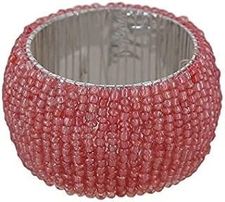ShalinIndia Handmade Beaded Napkin Rings Set With 8 Light Pink Glass Beaded Napkin Holders - 1.5 Inch in Size