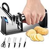 Knife Sharpener, 4-in-1 Kitchen Blade and Scissor Sharpening Tool 3-Stage Professional Chef Kitchen Accessories with Cleaning Brush Helps Repair, Restore and Polish Blades