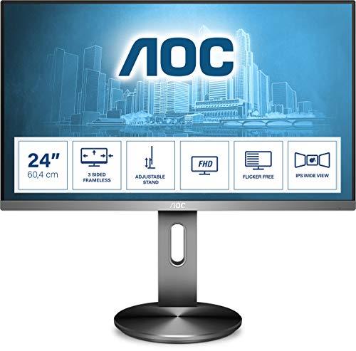 AOC I2490PXQU Monitor da 23.8' IPS, Frameless, FHD 1920x1080, 4 msec, 1 VGA, 1 HDMI, 1 DP, 4 porte USB, Speaker, Base Regolabile in Altezza, Grigio