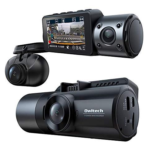 オウルテック ドライブレコーダー 3カメラ 前後 車内 同時録画 GPS搭載 夜間に強い高画質 2.8インチLCD 12V...