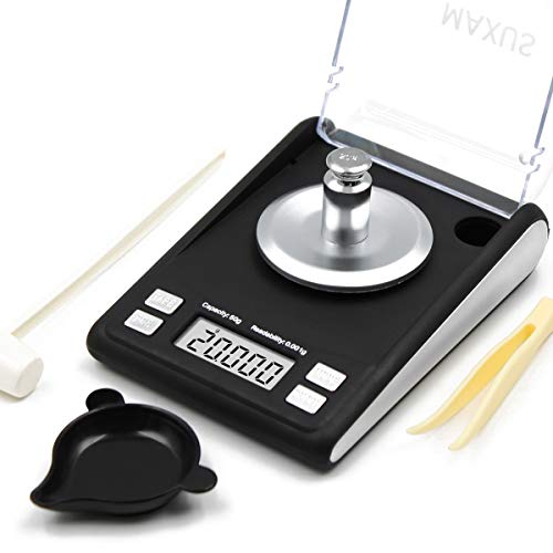 MAXUS Dante Milligram Scale 50g x 0.001g Includes 20g Calibration Weight, Scoop, Powder Pan and Tweezers Read in Grain Gram High Precision Reloading Jewelry Medicine Powder Digital Gram Scales