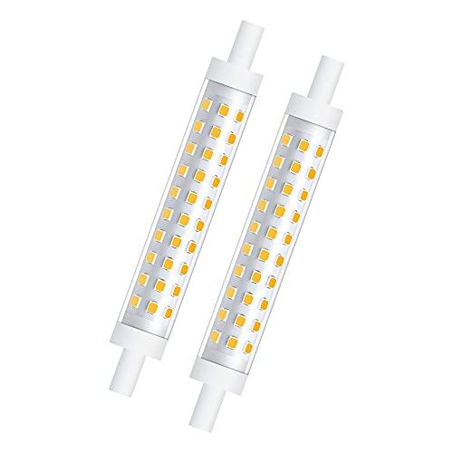 Bonlux 2-PCS 10W R7s 118mm Ampoule LED Dimmable Blanc Chaud 3000K 100W Halogène équivalent Linéaire Double Culot Réflecteur Floodlight pour jardin, public, couloir, lampadaires, projecteurs