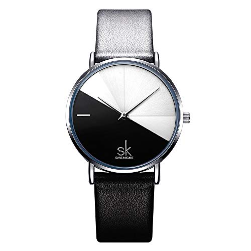 """SHENGKE Damenuhr, Lederband, dezent lässig, Geneva, wasserdicht, kreative Damenuhr """"reloj de Mujer"""" K0095-Schwarz"""