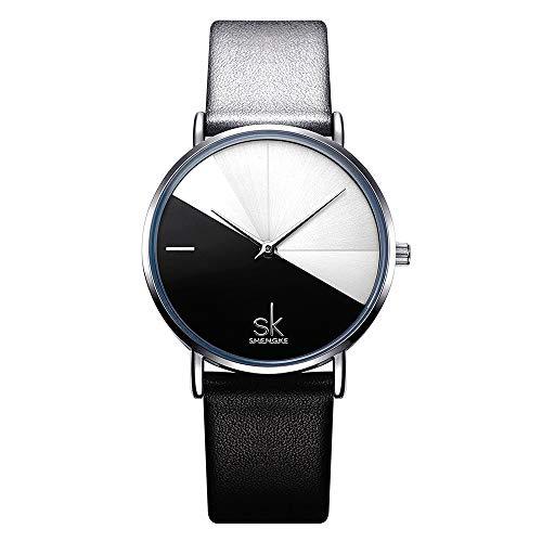 SHENGKE shengke señoras Reloj de Pulsera Creativas Mujeres Relojes Marca Reloj Mujeres Malla Vestido Reloj (K0095-Black&White)