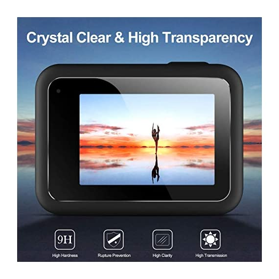 EZCO Screen Protector Compatible with GoPro Hero 8, [3 Sets/9Pcs] Waterproof Ultra Clear Tempered Glass Screen Protector… 4 Screen Protector for GoPro Hero 8: These screen protectors glass are designed for GoPro Hero 8 Camera Black. The package come with 3 pcs tempered glass screen protector, 3 pcs tempered glass lens screen protector, 3 pcs small protective film; 3 set cleaning kits, 1 x installation guide. 9H Hardness: The GoPro Hero 8 Black screen protector tempered glass felt sturdy and made out of good quality materials. It is shatterproof and hard so it doesn't scratch easily. Tempered glass is thick enough to protect your investment from the scratches and bumps of everyday life. Ultra Clear & No Bubbles: This tempered glass is bright, incomparable light transmission up to 99.99%. The highly transparent surface of the protection film for GoPro Hero 8 Black can clearly display the color of the lens and allows the rich colors of the screen.