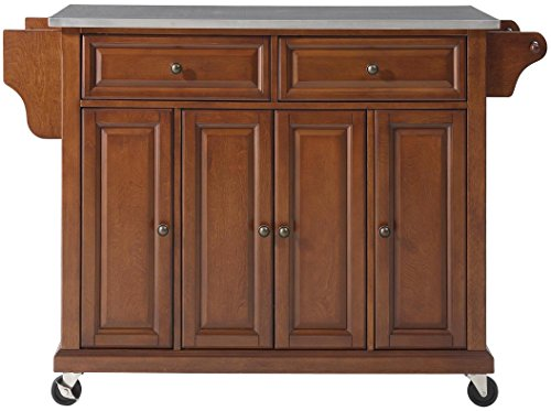 Crosley Furniture Rolling Kitchen Island with Stainless Steel Top, Classic Cherry