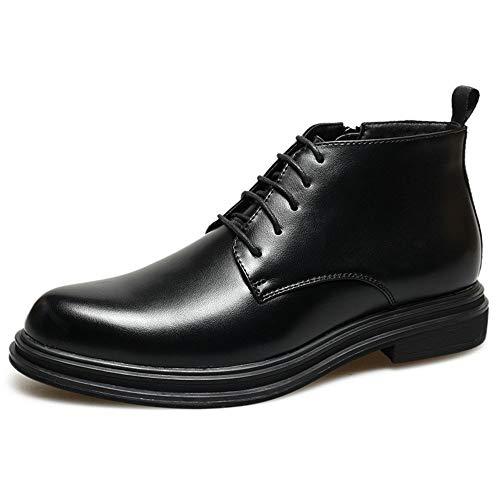 XueQing Pan High Top Oxford for mannen Retro enkellaars Lace up microfiber Leer spitse neus Rubber Sole Zijrits Block Heel Slijtvast (Color : Black, Size : 42 EU)