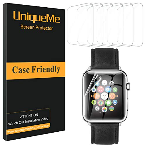 UniqueMe [6 Pack] Protector de Pantalla para Apple Watch 40mm Series 4/5, [Adsorcion anhidra] Soft HD Clear Protector Pantalla para Apple Watch 40mm Serie 4/5