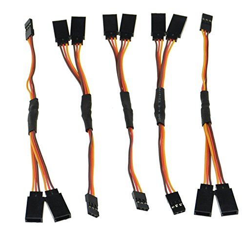SD Racing Parts 15cm Servo RC 1 to 2 Y Cables Male to Female Extension Lead Wire Cable for KK MWC Eagle Control Board Pack of 5 Set