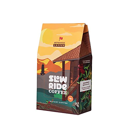 Slow Ride Instant Coffee. 30 instant coffee packets single serve. Great camping coffee and versatile for any coffee beverage!
