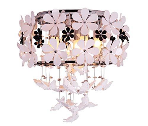 Deckenleuchte Pendelleuchte Ggraziös Kronleuchter Schmetterling Design Glaszylinder und Blume Acryl für Baby Mädchen Zimmer E14*5 Ø45cm*35CM Weißes(A ++)