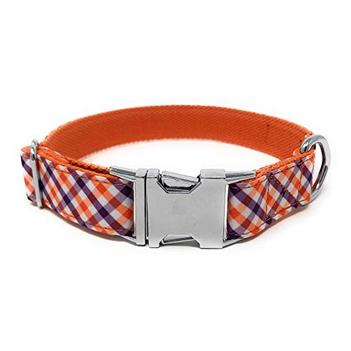 Regal Dog Products Cool Collar | Designer Custom fit for XS, Small, Medium, Large Dog, Cat, Puppy | Fun Dog Gift Idea | Multiple Colors (Large, Purple/Orange/White Plaid)