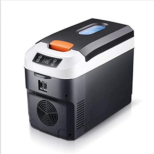 FDGSD Mini refrigerador de 10L, refrigerador pequeño y Calentador de sobremesa, refrigerador pequeño para automóvil, refrigerador Compacto termoeléctrico de 12V / 220V para automóvil y hogar, negr