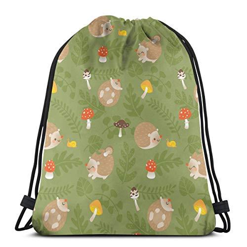 U Shape Happy Hedgehogs mit Pilzen und Farnblättern Kordelzug Rucksack Gym Dance Bag Rucksack für Wanderstrandreisetaschen 17×14 Zoll