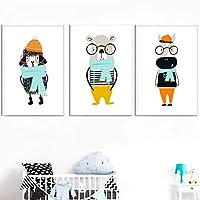"""かわいい赤ちゃんクマ羊ウサギキャンバス壁アート絵画写真プリントポスター通路生きている子供の赤ちゃん家の装飾19.6""""x 27.5""""(50x70cm)x3フレームなし"""
